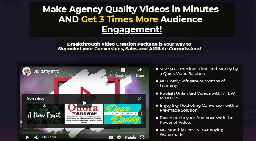 VidCrafty Pro Video Creator & OTO Upsell by Akshat Gupta