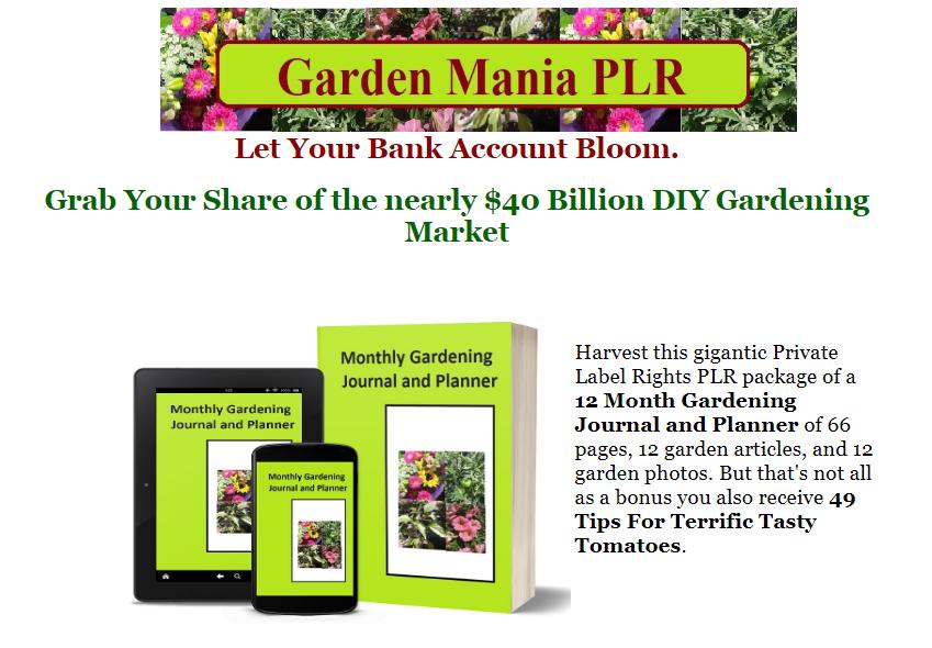 Garden Mania PLR Package by Dee Power