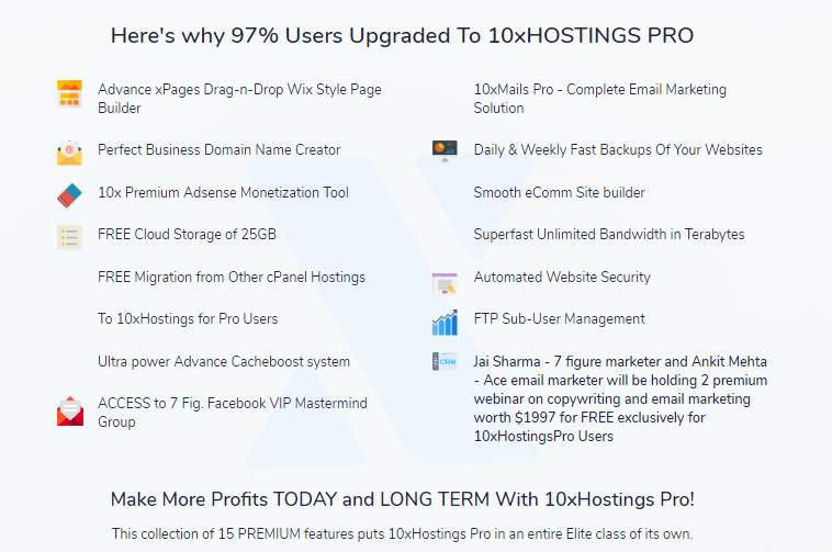 10xHostings PRO Commercial Version Upgrade OTO