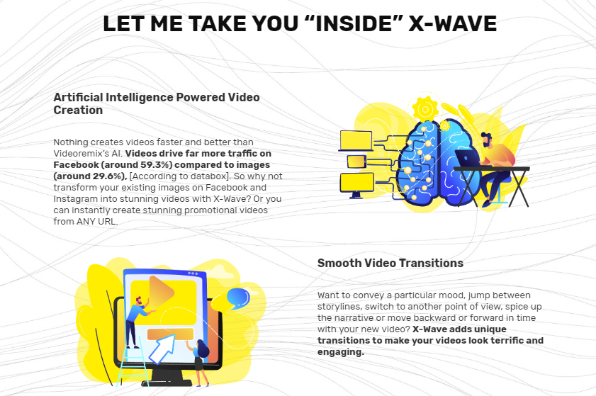 X-Wave VideoRemix OTO Upsell AI Video Software Review - Best Artificial Intelligence Video Creation Software to instantly create stunning promotional videos from any URL combined Professionally Designed Templates and Huge Video Assets Library with Smooth Video Transitions and High Rendering Speed