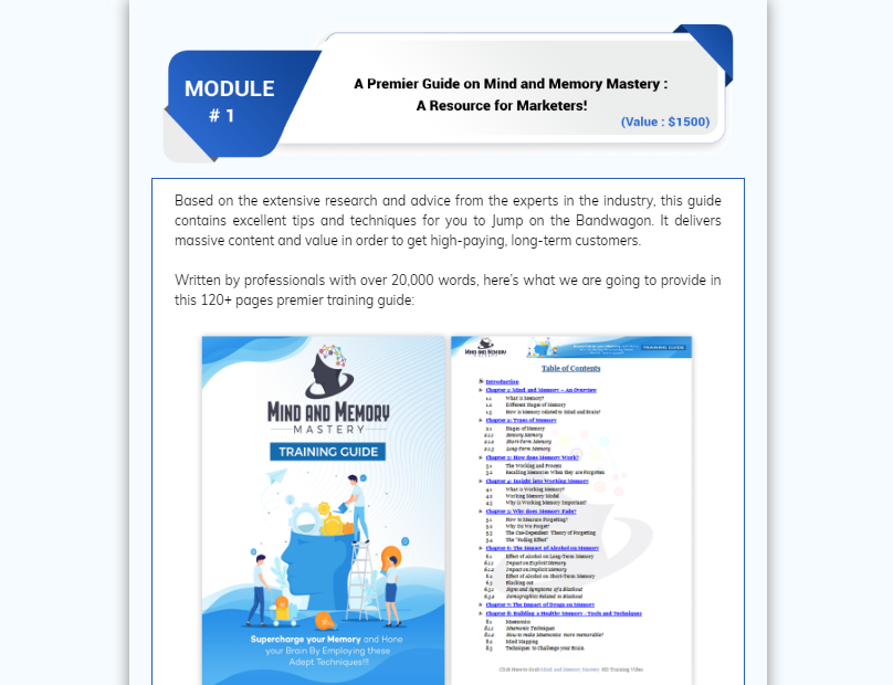 Mind and Memory Mastery PLR OTO Upsell by FireLaunchers