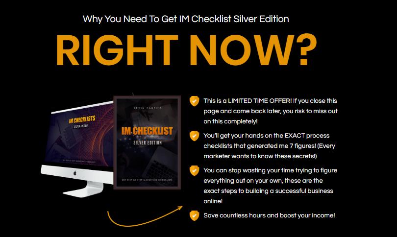 IM Checklist Silver Edition & OTO Upsell by Kevin Fahey