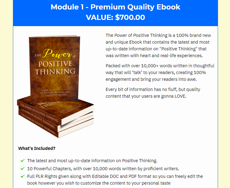 Power Of Positive Thinking PLR & OTO