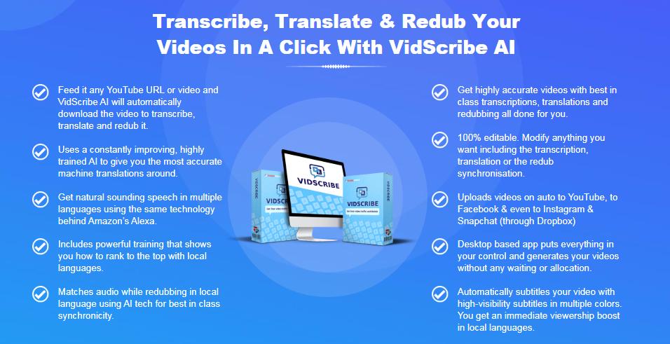 Vidscribe AI Software & OTO Upsell by Cyrill Gupta