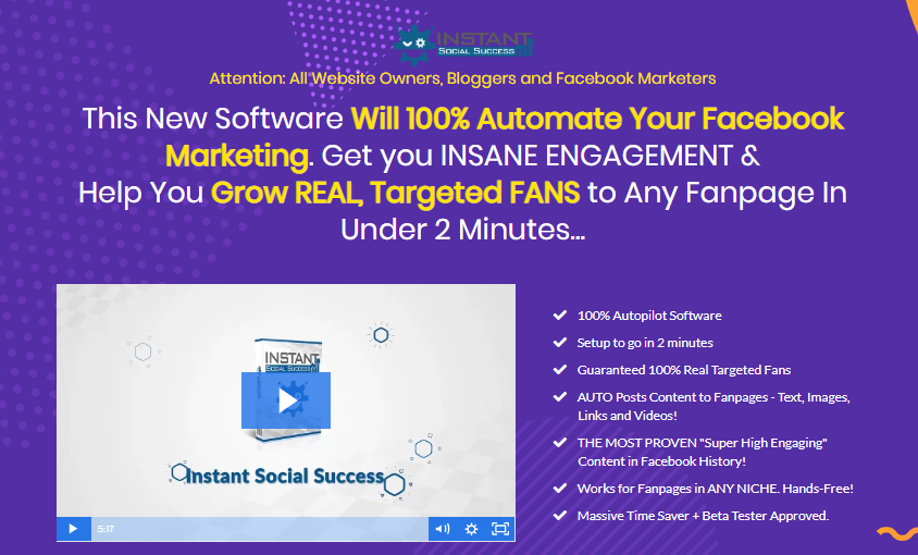 Instant Social Success Software & OTO by Dan Green