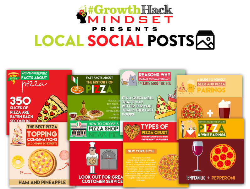 Local Social Posts Pizza Restaurants Edition & OTO by Kerry Knoll