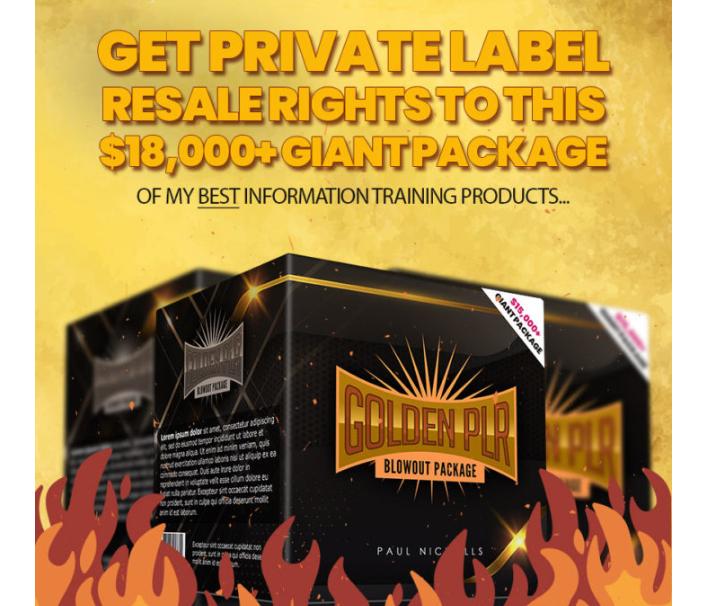 Golden PLR Blowout Package & OTO by Paul Nichols