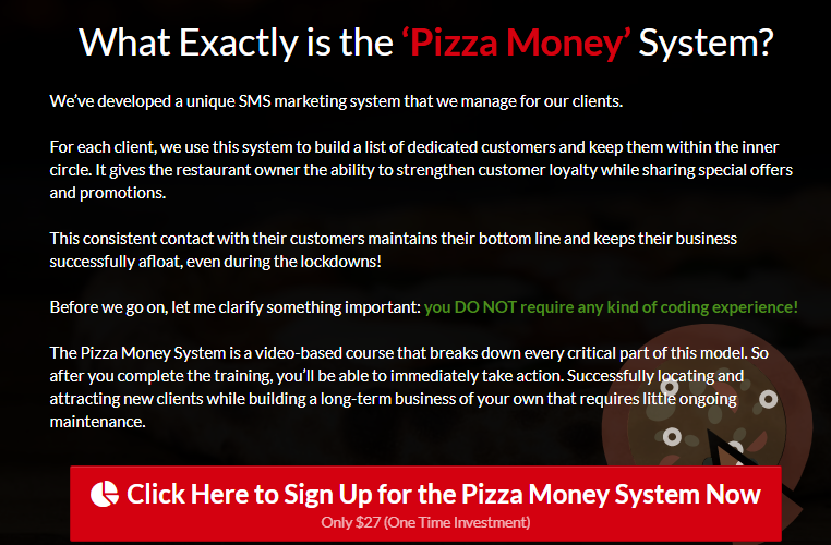 Pizza Money System & OTO by Ben Adkins